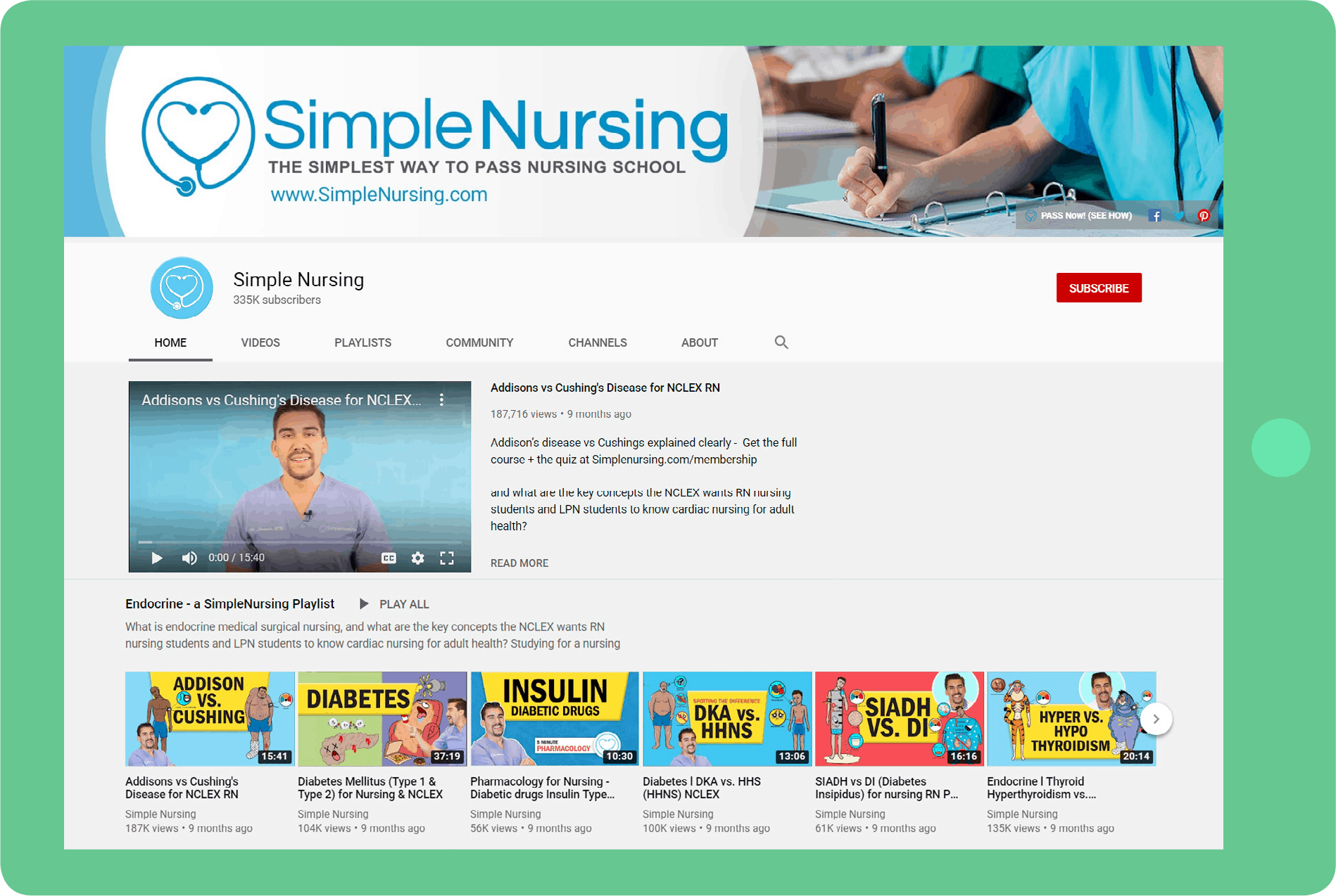 Healthcare explainer videos in Simple Nursing Youtube Channel
